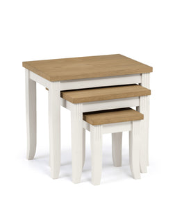 Davenport Nest of Tables in Ivory and Light Oak full set of 3 at GoFurn Kent
