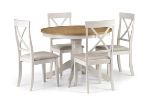 Davenport Round Pedestal Dining Set In Ivory And Oak by Julian Bowen