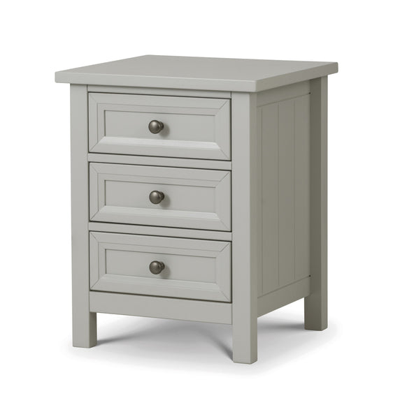 Maine Dove Grey 3 Drawer Bedside-Maine Dove Grey 3 Drawer Chest bedside-Julian Bowen-GoFurn Furniture Store Kent