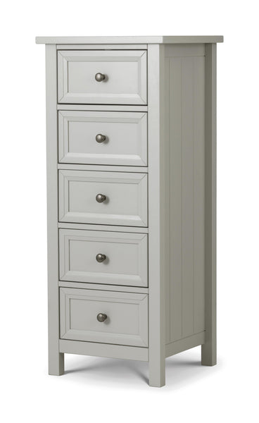 Maine Dove Grey 5 Drawer Chest-Maine Dove Grey 5 Drawer Chest-Julian Bowen-GoFurn Furniture Store Kent