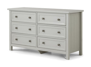 Maine Dove Grey 6 Drawer Chest-Maine Dove Grey 6 Drawer Chest Of Drawers-Julian Bowen-GoFurn Furniture Store Kent