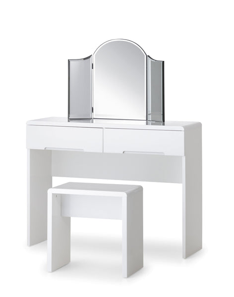 Manhattan White High Gloss Dressing Stool-Manhattan White High Gloss Dressing Table Stool-Julian Bowen-GoFurn Furniture Store Kent