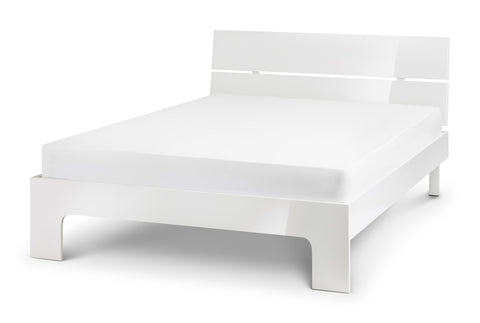 manhattan white high gloss double bed by julian bowen stockists gofurn