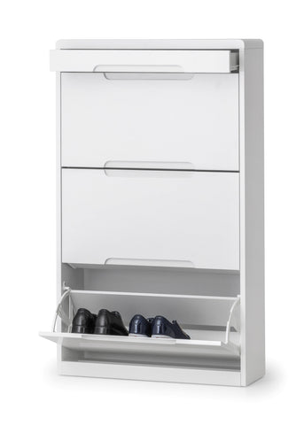 Manhattan White High Gloss Shoe Cabinet With Drawer-Manhattan White High Gloss Shoe Cabinet With Drawer-Julian Bowen-GoFurn Furniture Store Kent