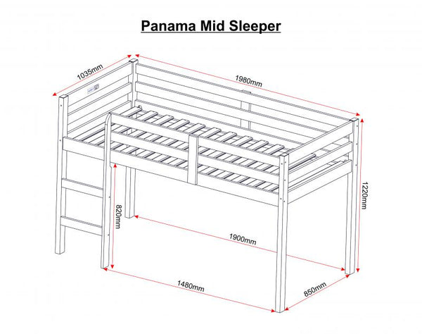 panama mid sleeper measurements guide
