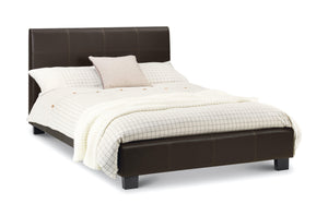 Phoenix Small Double Bed-Phoenix Faux Brown Leather Small Double-Julian Bowen-GoFurn Furniture Store Kent