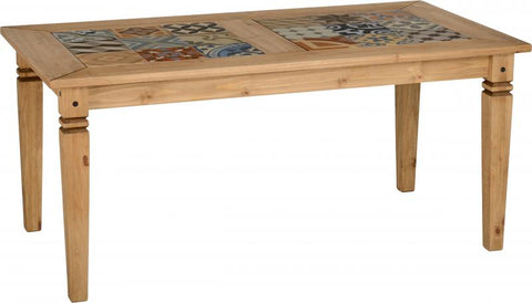 salvador tile top dining table in rustic pine