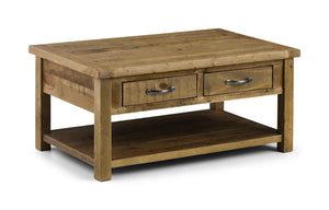 Aspen Distressed Rough Sawn Solid Pine Coffee Table-rustic pine Coffee Table-Julian Bowen-GoFurn Furniture Store Kent