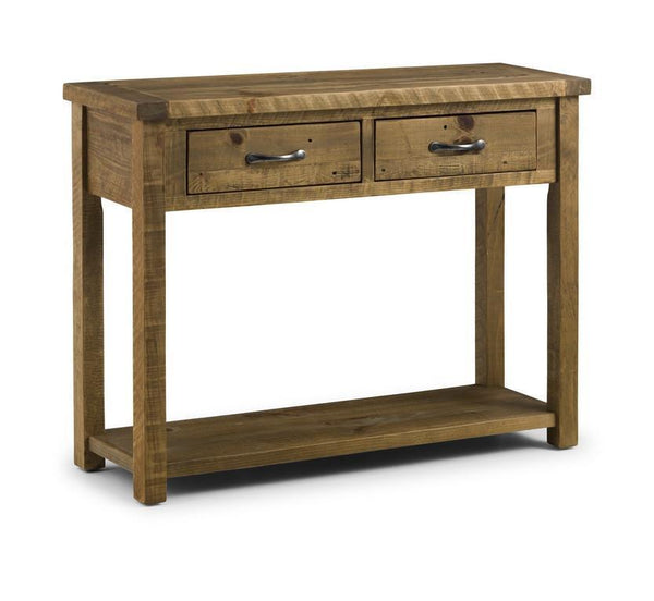 Aspen Distressed Rough Sawn Solid Pine Console Table with 2 Drawers-Console Tables 2 drawer-Julian Bowen-GoFurn Furniture Store Kent