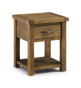 Aspen Distressed Rough Sawn Solid Pine Lamp Table-Lamp Tables-Julian Bowen-GoFurn Furniture Store Kent