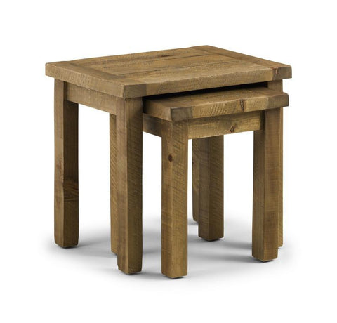 Aspen Distressed Rough Sawn Solid Pine Nest of Tables-Nest of Tables-Julian Bowen-GoFurn Furniture Store Kent