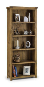 Aspen Distressed Rough Sawn Solid Pine Tall Bookcase-Bookcases-Julian Bowen-GoFurn Furniture Store Kent