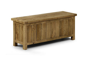 Aspen Pine Rough Sawn Storage Bench-Blanket Box Storage Bench-Julian Bowen-GoFurn Furniture Store Kent