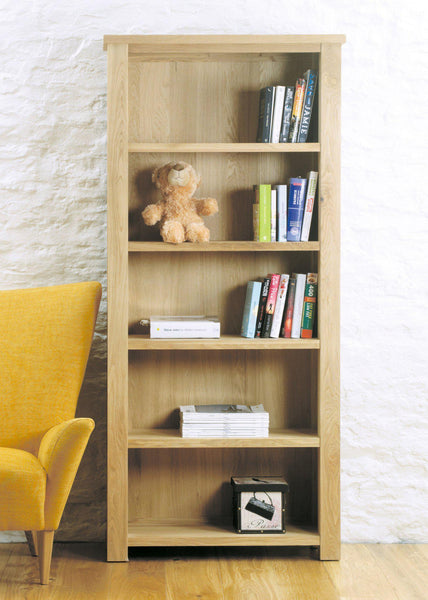 Aston Oak Large Open Bookcase-home office storage bookcase-Baumhaus-GoFurn Furniture Store Kent