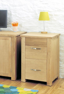 Aston Oak Two Drawer Filing Cabinet-oak filing cabinets-Baumhaus-GoFurn Furniture Store Kent