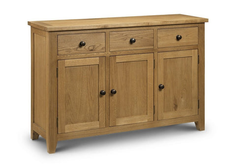 Astoria Oak 3 Door 3 Drawer Sideboard-oak Sideboards-Julian Bowen-GoFurn Furniture Store Kent