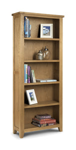 Astoria Oak Large Tall Bookcase-oak Bookcases-Julian Bowen-GoFurn Furniture Store Kent