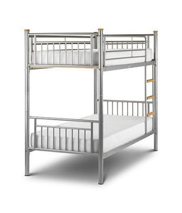 Atlas Contract Aluminium Finish Bunk Bed-Metal Bunk Beds-Julian Bowen-GoFurn Furniture Store Kent