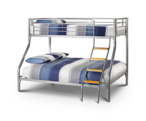 Atlas Contract Aluminium Finish Triple Bunk Bed Sleeper-Triple Sleeper Bunk Beds-Julian Bowen-GoFurn Furniture Store Kent