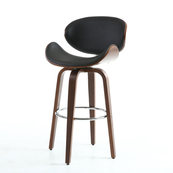 Bachelor Black Walnut Bar Stool-kitchen breakfast walnut bar stools-shankar-GoFurn Furniture Store Kent