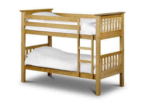 Barcelona Solid Antique Pine Bunk Bed-Bunk Beds-Julian Bowen-GoFurn Furniture Store Kent