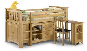 Barcelona Style Solid Antique Pine Sleep Station-childrens mid sleeper Beds-Julian Bowen-GoFurn Furniture Store Kent