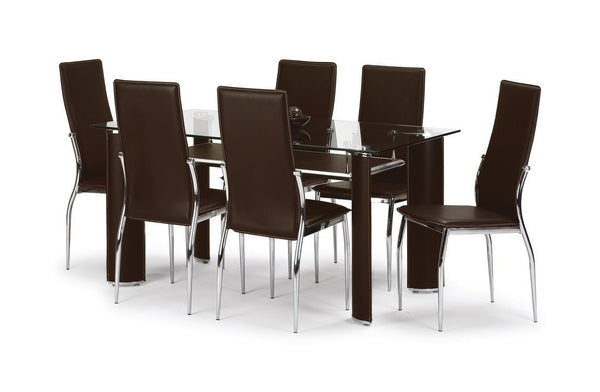 Boston Chrome/Glass Finish Dining Set with 6 Chairs-Dining Sets-Julian Bowen-GoFurn Furniture Store Kent