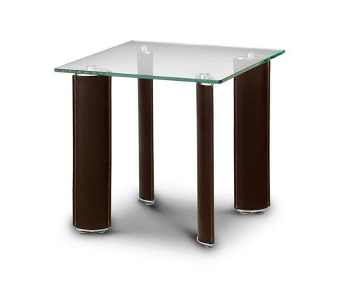 Boston Lamp Table Chrome and Glass and Brown-Tables-Julian Bowen-GoFurn Furniture Store Kent