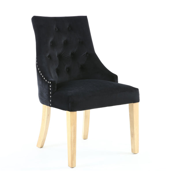 Camberwell Black Brushed Velvet Accent Chair-fabric velvet accent chair-shankar-GoFurn Furniture Store Kent