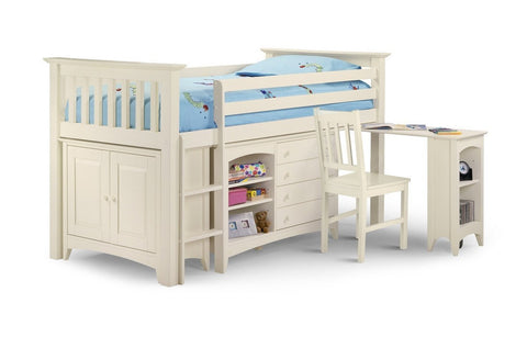 Cameo Solid Stone White Furniture Sleep Station-Childrens Mid Sleeper Beds-Julian Bowen-GoFurn Furniture Store Kent