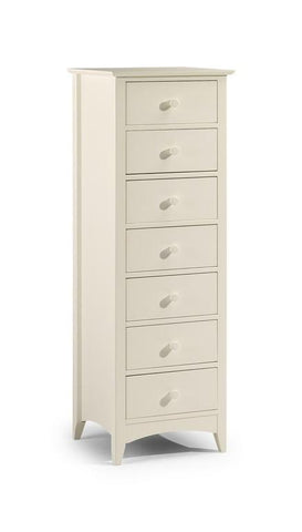 Cameo Stone White 7 Drawer Chest of Drawers-Tall Chests of Drawers White-Julian Bowen-GoFurn Furniture Store Kent