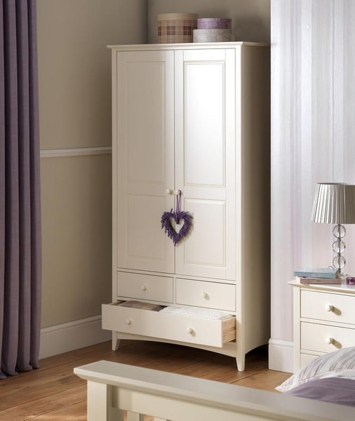 Cameo Stone White Combination Wardrobe-Cameo White Wardrobes-Julian Bowen-GoFurn Furniture Store Kent