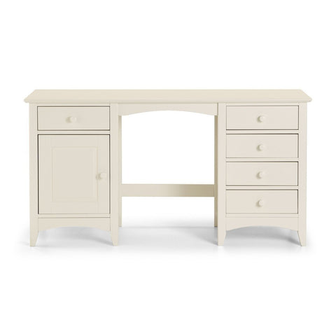 Cameo Stone White Twin Pedestal Dressing Table-White Dressing Tables-Julian Bowen-GoFurn Furniture Store Kent