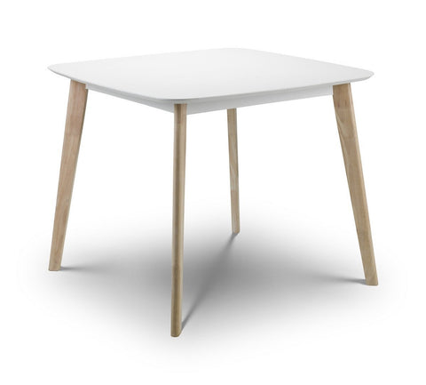 Casa Dining Table White and Oak-white square dining table retro-Julian Bowen-GoFurn Furniture Store Kent