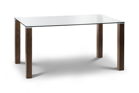 Cayman Walnut Glass Dining Table-glass and walnut dining tables-Julian Bowen-GoFurn Furniture Store Kent