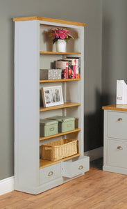 Chadwick Large Bookcase With Two Drawers-home office storage bookcase-Baumhaus-GoFurn Furniture Store Kent