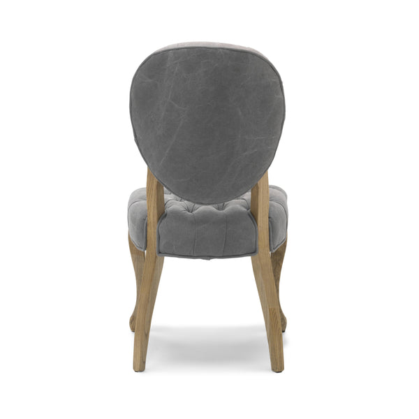 Chantilly Dining Chair in Grey Linen Fabric and Walnut Legs-Dining Chairs grey buttoned-shankar-GoFurn Furniture Store Kent