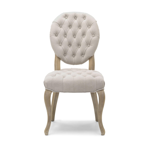 Chantilly Dining Chair Natural Linen Fabric and Solid Washed Oak Legs-Dining Chairs fabric light oak legs-shankar-GoFurn Furniture Store Kent
