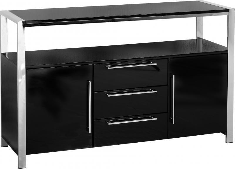 Charisma Black 2 Door 3 Drawer Sideboard-black gloss sideboard-Seconique-GoFurn Furniture Store Kent
