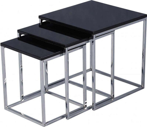 Charisma Black Gloss Nest of 3 Tables-charisma black Nest tables-Seconique-GoFurn Furniture Store Kent