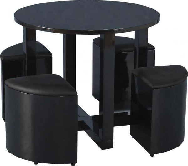 Charisma Black Stowaway Dining Set-stowaway small Dining Sets-Seconique-GoFurn Furniture Store Kent