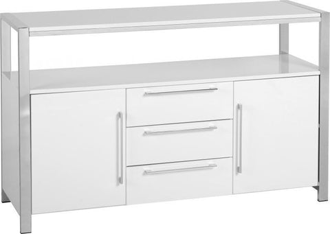 Charisma White 2 Door 3 Drawer Sideboard-white gloss sideboard-Seconique-GoFurn Furniture Store Kent