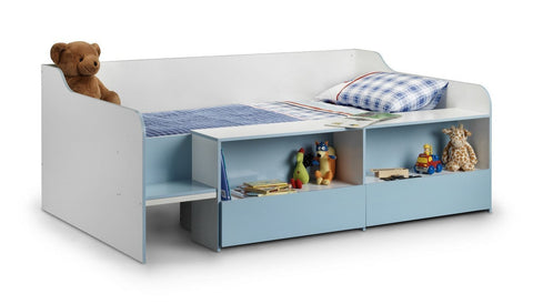 Stella Low Sleeper White Blue Childs Bed-Childrens Beds-Julian Bowen-GoFurn Furniture Store Kent