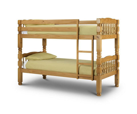 Chunky Solid Pine Antique Finish Bunk Bed-pine Bunk Beds-Julian Bowen-GoFurn Furniture Store Kent