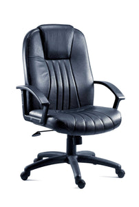City Executive Office Chair Black Leather-executive leather office managers chair-teknik-GoFurn Furniture Store Kent