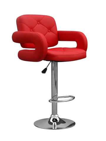 Colby Bar Stool Red Leather-kitchen breakfast Bar Stools-shankar-GoFurn Furniture Store Kent