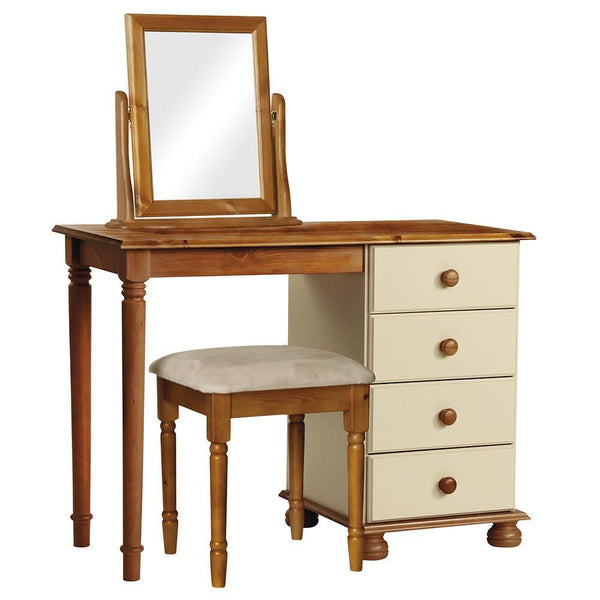 Copenhagen Cream 4 Drawer Dressing Table-pine and cream Dressing Tables-furniture to go-GoFurn Furniture Store Kent