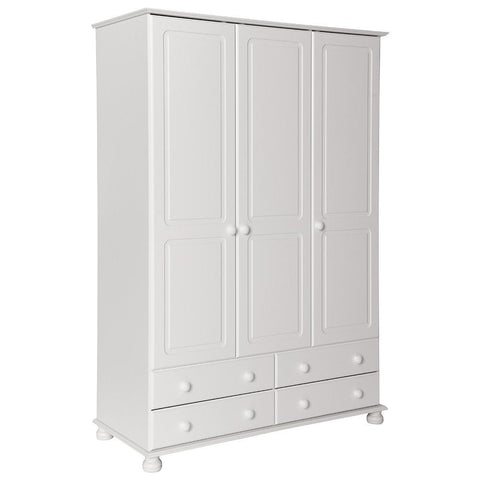 Copenhagen White 3 Door 4 Drawer Wardrobe-White Wardrobes 3 doors-furniture to go-GoFurn Furniture Store Kent
