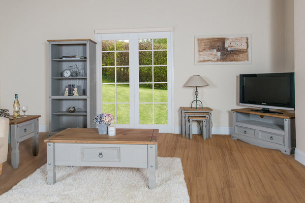 corona grey wash and mexican pine complete range in living room setting