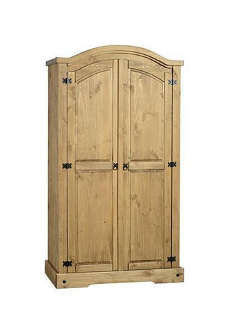 Corona 2 Door Wardrobe Distressed Waxed Solid Pine-Corona pine Wardrobes-Seconique-GoFurn Furniture Store Kent